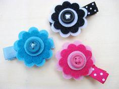 Baby/Girls Hair Clip Set, Flower Hair Clips, Pink, Blue, Black and White Felt Flowers, Girl Barrettes, Girls Hair Accessory, Infant Child