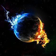 【人気213位】格好いいiPad壁紙:炎と水と地球 | iPadの壁紙がダウンロードし放題