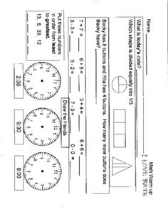Daily Review sheets for reinforcement of basic first Grade Skills.  Great for morning warm up or fillers....