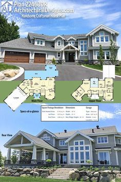 Architectural Designs House Plan 22463DR gives you over 3,700+ square feet of heated living space. 5BR, large den/school room.