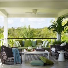 This porch on the island of Vieques in Puerto Rico is airy and inviting, thanks to the well cushioned teak sofa and lounge chairs. The palette perfectly echoes the beautiful views beyond. Great Escape - 47 Beachy Porches and Patios - Coastal Living Coastal Bedrooms, Coastal Living Rooms, Coastal Cottage, Coastal Homes, Coastal Decor, Coastal Bedding, Coastal Curtains, Coastal Entryway, Coastal Rugs