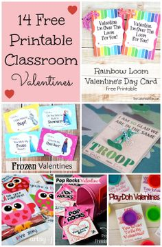 14 Free Printable Kids Classroom Valentines From @jen @ TheSuburbanMom.com http://www.thesuburbanmom.com/2014/02/04/14-free-printable-kids-classroom-valentines/