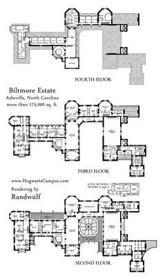 Biltmore Estate Mansion Floor Plan - upper 3 floors.  We have the other three floors elsewhere. It's Victorian, so we have baths.