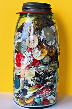 I did this with all the buttons we found when we cleaned out my Grandma's house.  So cool!