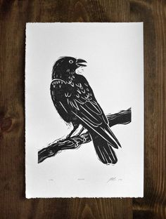 Original art linocut of raven. Hand cut, and hand printed on beautiful archival paper. 15 x 22 paper size. The image size is approximately 12 x 18. #Arts Design
