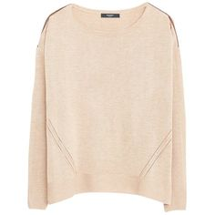 Mango Openworrk Trim Sweater, Medium Brown (61 CAD) ❤ liked on Polyvore featuring tops, sweaters, pink sweater, long sleeve sweaters, brown sweater, loose sweater and pink top