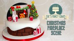 Christmas fireplace backdrop cake decorating snow theme How to Cake Decorate Tutorial. In this Christmas cake decorating tutorial I show you how to make a mini Christmas backdrop scene for your Christmas cakes. Christmas Cake Designs, Christmas Cake Decorations, Fondant Christmas Cake, Christmas Cakes, Christmas 2015, Christmas Tree, Zoes Fancy Cakes, Chimney Cake, New Year's Cake