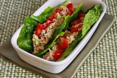 Recipe for Tuna Salad Lettuce Wraps with Capers and Tomatoes [from KalynsKitchen.com]