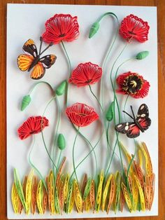 Quilled Butterflies and Poppies