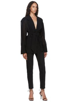 Mugler: Black Echo Chiffon Wrap Blouse | SSENSE Adidas Gifts, Wrap Blouse, Chiffon, Jumpsuit, Black, Dresses, Women, Style, Fashion