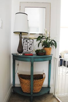 top of the stairs half moon turquoise table
