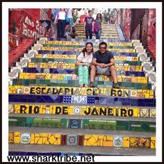 In this pic we was at The Escadaria Selaron in Lapa, Rio de Janeiro, Brasil