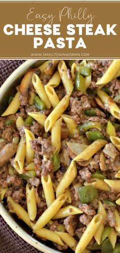 PHILLY CHEESESTEAK PASTA - - Need a quick family dinner? These Philly Cheesesteak Pasta is packed with ground beef, green peppers, mushrooms, and creamy provolone cheese. Tender penne pasta makes this a filling, fast family dish. Steak Pasta, Pasta Penne, Chicken Pasta, Baked Chicken, Pasta Meals, Pasta Food, Chicken Casserole, Quick Family Dinners, Dinner Recipes Easy Quick