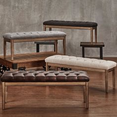 Benchwright Tufted Reclaimed 52-inch Upholstered Bench