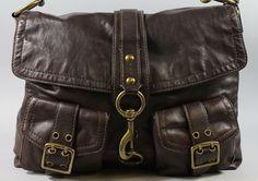AUTH COACH Brown Leather Buckle Strap Flap Closure Messenger Handbag BID NOW @ www.ShopLindasStuff.com
