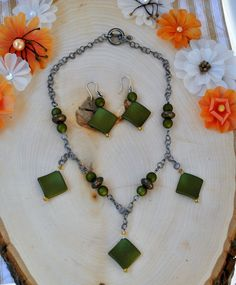 Geometric Olive Green Necklace and Earring Set by JewelrybyTheriot on Etsy