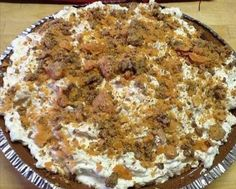 Butterfinger Cheesecake Pie is quick and easy to make and tastes amazing! This is a great dessert to take somewhere, definitely a crowd pleaser and goes fast!