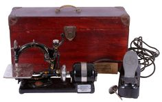 Antique WILLCOX & GIBBS Electric Sewing Machine W/ Original Foot Pedal & Case #WilcoxGibbs