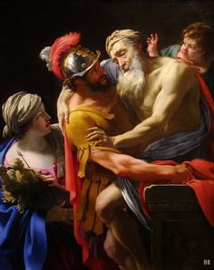 Aeneas and his father fleeing Troy. 1635. Simon Vouet. French. 1590-1649. oil on canvas.