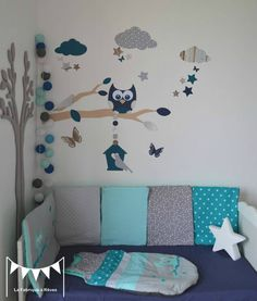 gigoteuse turbulette tour de lit hibou étoiles gris turquoise - décoration chambre bébé fille garçon chouette étoiles turquoise gris 3 Baby Co, Baby Kids, Baby Boy Rooms, Baby Bedroom, Toddler Bed, Bleu Pale, Kids Room, Childrens Bedroom Decor, Baby Dresser