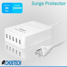 CHOETECH Surge Protector with 5 USB Ports and 2 AC Outlets that can saves your Electronics gadgets and appliances from surge. Buy it from Amazon: http://www.amazon.com/dp/B00UUS78IY