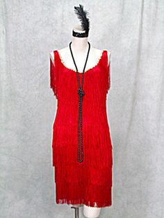 1920s RED FRINGED GATSBY FLAPPER DRESS SPEAKEASY JAZZ (Image1)