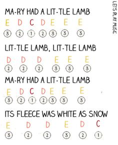 Mary Had a Little Lamb Easy Piano Sheet Music