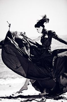 Dramatic long black dress. Before the Tide Comes - Zhang Jingna fashion photography editorial. Black and white.