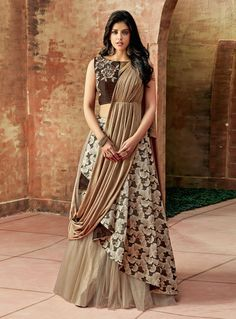 Buy Brown Jacquard Silk Designer Lehenga Choli 146940 online at best price from vast collection of Lehenga Choli and Chaniya Choli at Indianclothstore.com.