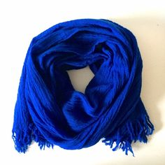 Blue scarf Blue scarf with fringe ends Accessories Scarves & Wraps