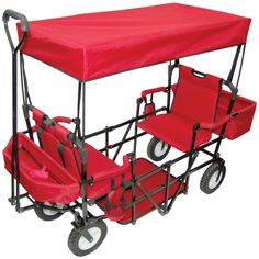 Double Seat Folding Red Wagon with Canopy -Any parent or grandparent will absolutely find this essential when traveling with your little ones. This 2 Seater Wagon is designed for outdoor fun and convenience, making tailgating and trips to t Folding Wagon, Kids Wagon, Materiel Camping, Baby Gadgets, Sports Toys, Prams, Baby Gear, Future Baby, Baby Items