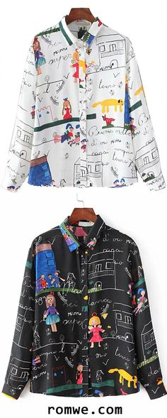 Cartoon Print Buttons Front Blouse