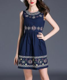 This Navy Embroidered Fit & Flare Dress is perfect! #zulilyfinds
