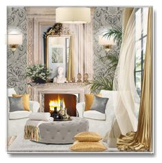 A home decor collage from January 2015 featuring round ceiling lights, cream lamp shade and fireplace accessories. Decor, Living Room, Room, Glamorous Living Room, Interior Decorating, Round Ceiling Light, Home Decor, Interior Design, Beige Lamps