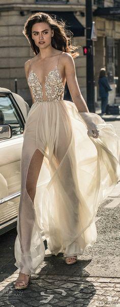 liz martinez 2018 bridal spaghetti strap deep plunging sweetheart neckline heavily embellished bodice middle split tulle skirt soft a line wedding dress open back sweep train (3) mv -- Liz Martinez 2018 Wedding Dresses
