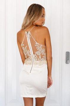 Jasmine Stardust Satin Dress (Gold)▶ ▷ ▶ Shop It Now ❤ Xenia Boutique xx