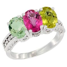 14K White Gold Natural Green Amethyst, Pink Topaz & Lemon Quartz Ring 3-Stone 7x5 mm Oval Diamond Accent, size 7, Women's