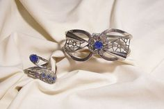 Retro Sapphire color Rhinestone Clamper by sharalavintageJewels, $60.00