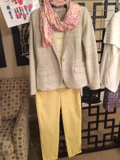 I'm completely loving this combo. The blazer is Cabi 2014, pants, scarf and striped top are Cabi 2015. Great for biz casual now that it's warmer, or weekend. Pants and jacket have stretch so it's also good for traveling.