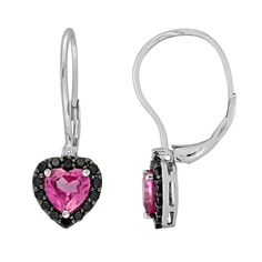Sterling Silver Lab-Created Pink Sapphire, Black Spinel and Diamond Accent Heart Drop Earrings, Women's