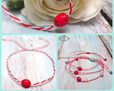 MARCH Bracelet , Martisor Bracelet,  MARTIS Greek  Bracelet,  Martaki, Ladybug Spring Bracelet, Friendship Bracelet  by VintageRoseGallery
