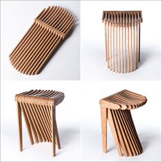 SWISH is a kinetic, modern wood stool made from 27 thin wood elements that have been produced using CNC machinery.