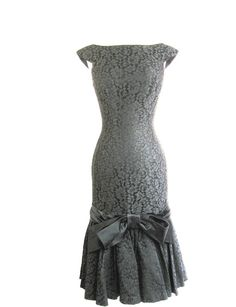 Vintage 1950s Wiggle Lace Cocktail Mermaid Little Black Dress. by LOU-ETTE CALIFORNIA