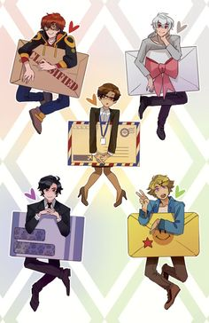 This is a painting I did of each character route you can take in the game Mystic Messenger! I paired them with cute envelopes that relate to their personalities. Each print is 11x17, hand signed and dated by me, the artist.