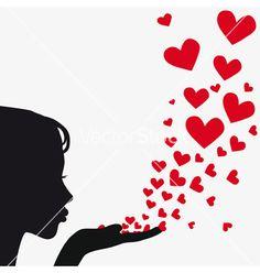 Blowing kisses - salvo na pasta Love, love, love. Woman Silhouette, Silhouette Art, Ballerina Silhouette, Princess Silhouette, Silhouette Portrait, Blowing Kisses, Clip Art, I Love Heart, Happy Heart