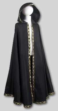 I purchased a plain black cotton cloak from Garb The World when they had extra on clearance, about $35 - well worth the fabric and cutting alone! We got trim for WAY LESS than the $3+/yard in Downtown LA for 50-CENTS a yard and my mom sewed it on for me in about an hour. Even if you can't sew an entire garment you can save money on doing the simple extras yourself!