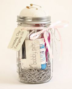 6 wedding-worthy mason jar ideas. Wedding Emergency Kit. Because if you'r anything like us, anything that CAN go wrong at your wedding WILL. via @theknot