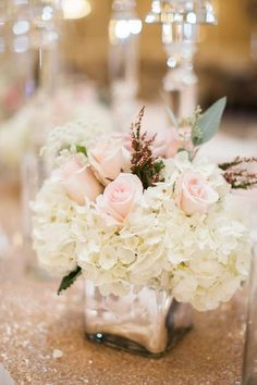 Pink Rose and Ivory Hydrangea Centerpiece