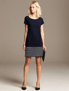 Stripe-Hem Ponte Dress Product Image