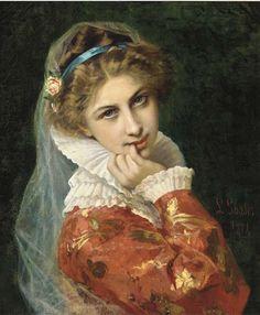 A thoughtful moment, Leonardo Gasser. Italian (1831 - ?)